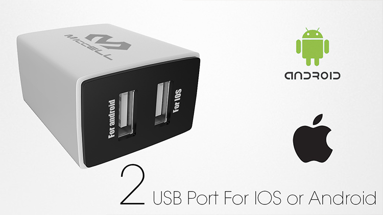 2 usb ports chargers for iphone Android