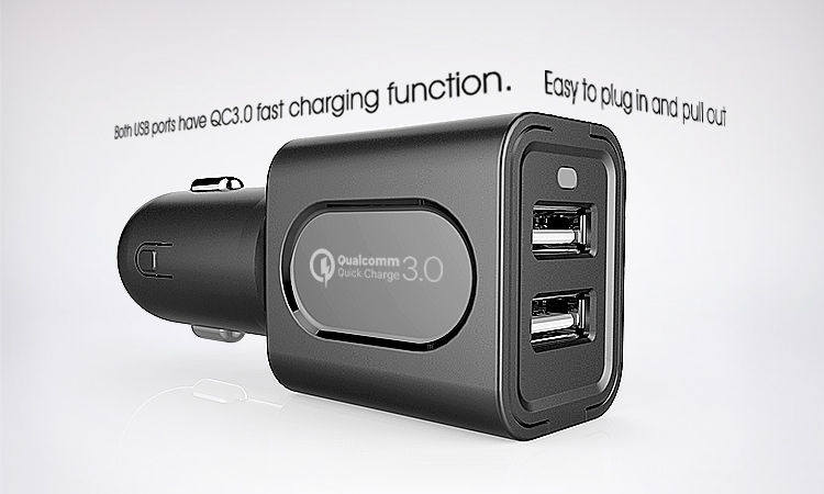 Veaqee manufacturer Dual usb car charger QC 3.0 PIN car mobile charger supplier(VQCC-1627)