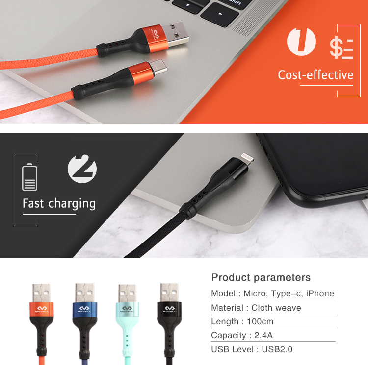 Braided 2.4A 1M micro usb fast charging data usb cable (2).jpg