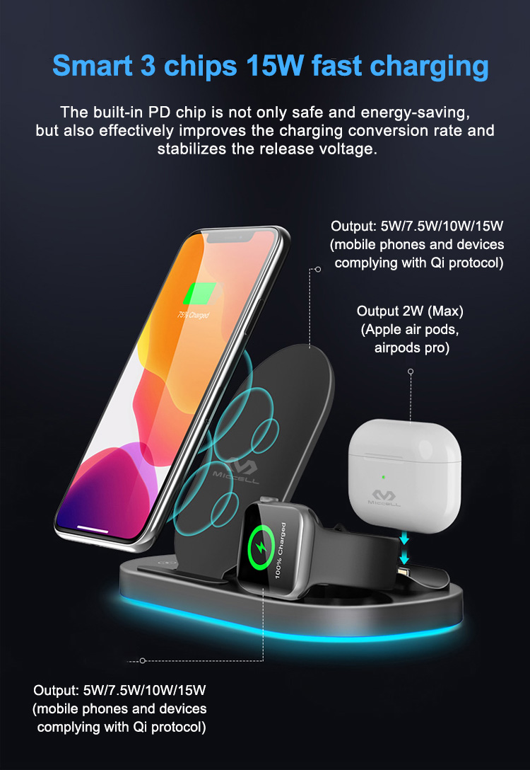 Wholesale wireless charger stand 3 in 1 15w fast charging for iphone (4).jpg