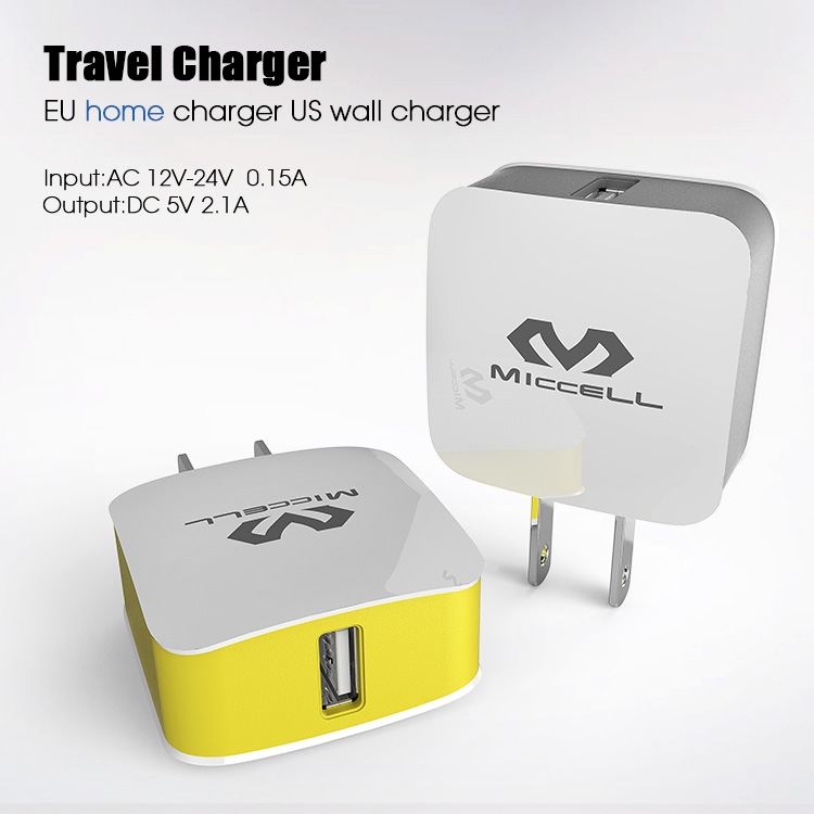 Dual USB travel Charger EU home charger US wall charger(VQCT-1657)