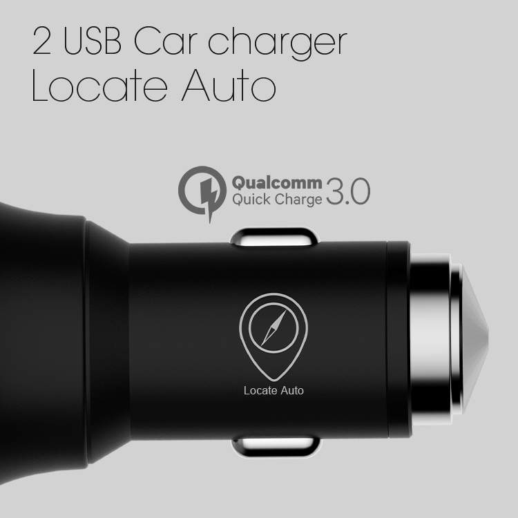 Veaqee New Locate Auto metal 2 usb ports car charger with led light for iphone and android(VQCC-1629)