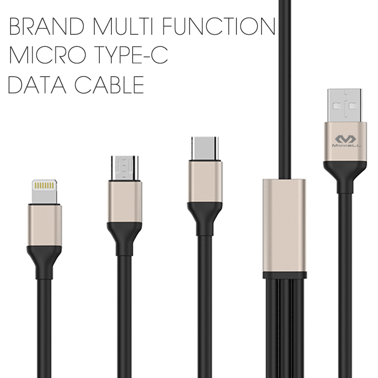 Veaqee manufacturer Miccell brand multi function Micro Type-c data cable cord for iPhone 8 x(VQUC-1709)