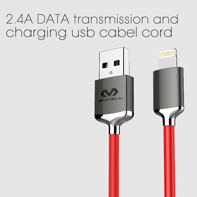 Veaqee manufacturer Miccell brand combine Nylon braided 2.4A DATA transmission and charging usb cabel cord(VQUC-1708)-1