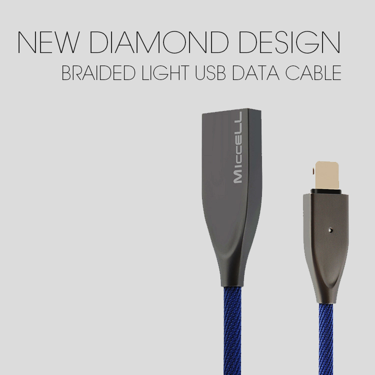 Veaqee manufacturer Miccell brand New diamond design braided light usb data cable cord for iphone 8 x plus(VQUC-1711)