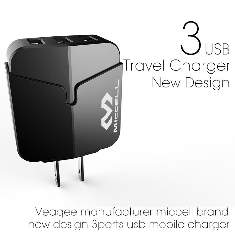 Veaqee manufacturer miccell brand new design 3ports usb mibile charger(VQ-T03U (3.4A / 5.1A))