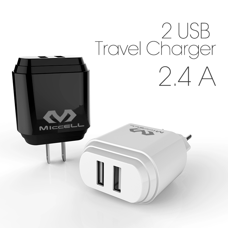 Veaqee Manufacturer New Design Miccell Brand US 2.4 A 2 USB Ports Cell Phone Chargers For SmartphoneVQ-T01U/E