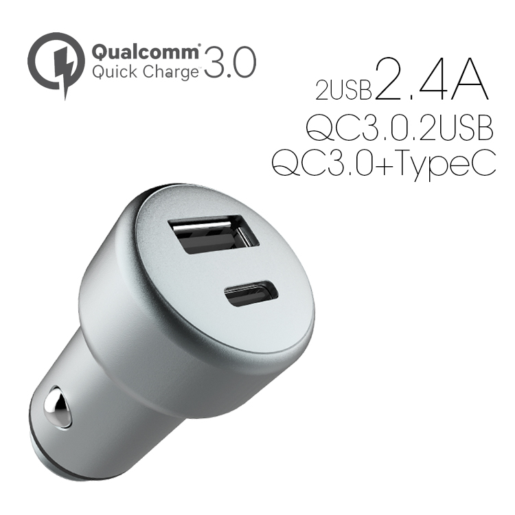 Veaqee Manufacturer Miccell Brand New Design 2.4A*2usb ports/QC3.0*2/QC3.0+type C car charger(VQ-C25)