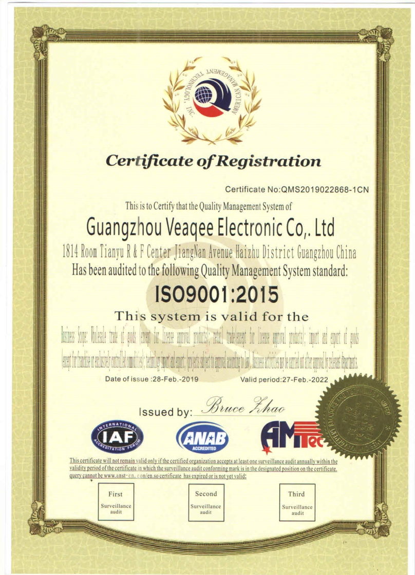 Veaqee company certifications 4